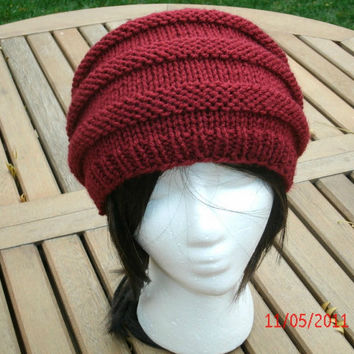 Hand Knit Hat - 3 Rib in Cranberry - Knit Hat Handmade Hat