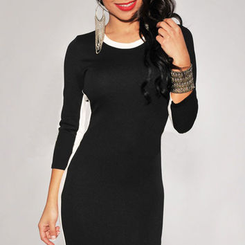 Black 3/4 Sleeved Bodycon Dress with White Trim