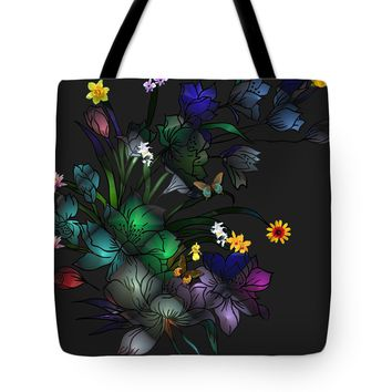 "Tiffany Floral Design Tote Bag for Sale by Liane Wright (18"" x 18"")"