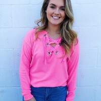 Neon Pink Hacci Lace Up Top