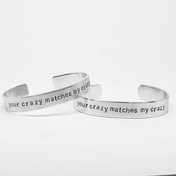 your crazy matches my crazy: Deadpool romantic quote cuff bracelet SET for geeks in love