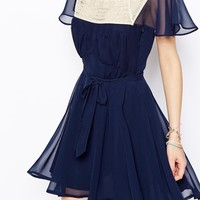 ASOS Skater Dress With Lace Trim Square Neck