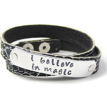 Leather Wrap Bracelet I Believe In Magic Bracelet by geekdecree