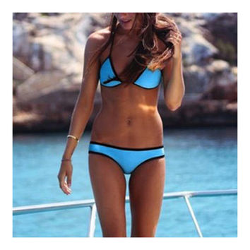 European Swimwear Swimsuit Triangle Bikini  dark blue  S