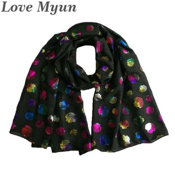 Free Shipping ! Fashion Shell Colourful  Foil Print Scarf