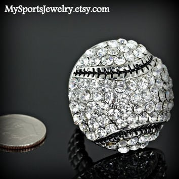 Rhinestone Black Stitch Baseball Ring  (Stretch Fit)