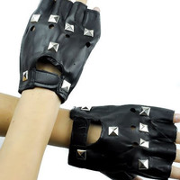 Pyramid Stud Black Gothic Biker Gloves