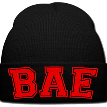 BAE RED beanie knit hat
