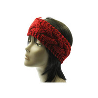 Red Wide Cable Knit Headband