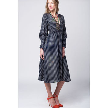Navy midi dress with boho print and cuffs