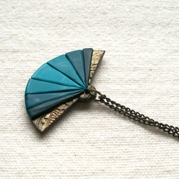 Antique style polymer clay fan necklace bronze teal turquoise robin egg blue color progression ombre pendant bohemian oriental style