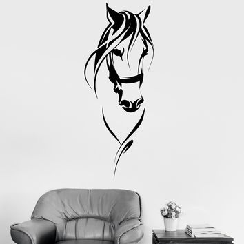 Vinyl Wall Decal Race Horse Head Animal Pet Room Decoration Stickers Unique Gift (1662ig)