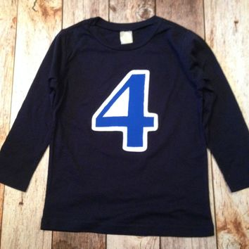 FAN Photo Birthday Shirt in Royal and White on Long Sleeve Navy Shirt Old Biggie 1 2 3 4 5