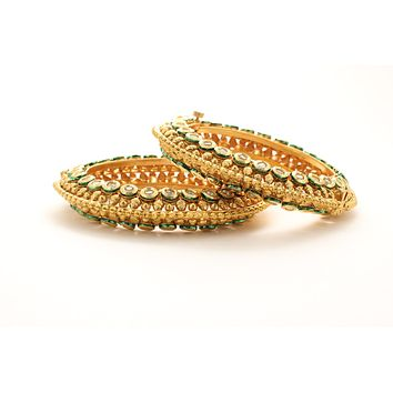 Gold tone Openable Plating Ethnic Style Bangles Made with White Zarcon and Cubic Zarcon