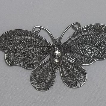 Vintage Butterfly Filigree Pewter  Brooch