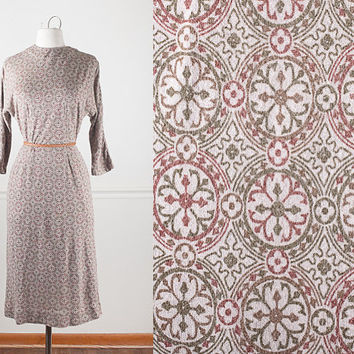 1950s Knit Dress / 50s Style Dress / Vintage 50s Dress / Novelty Print Dress / Mid Century Modern Day Dress / Tan Dress / Brown Dress