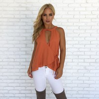 Give Thanks Wrap Top in Rust