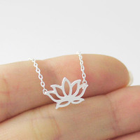 1PCS- N007 Fashion Gold and Silver plant Lotus Necklace,tiny lotus flower lotos necklace pendants Jewelry for lady women