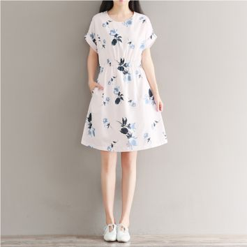 RETRO KOREAN VERSION OF THE DIGITAL PRINT SHORT SLEEVE ROUND NECK CHIFFON DRESS