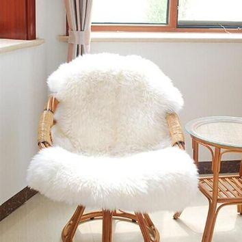 Urijk 1PC Home Soft Sheepskin Chair Cover Warm Hairy Carpet Seat Pad Plain Skin Fur Plain Fluffy Rugs Washable Bedroom Faux Mat