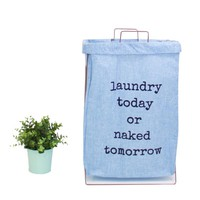 Wire Fold Laundry Hamper Light Blue with Letters