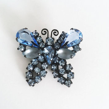 Weiss Signed Butterfly Brooch, Japanned Black and Blue Rhinestone Pin, Vintage 1950s 1960s Designer Signed Jewelry