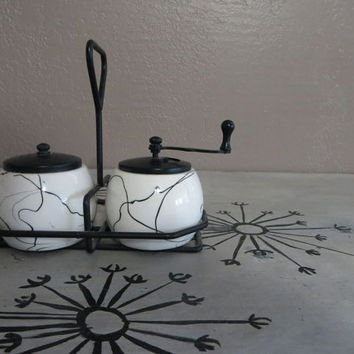 George S Thompson  Salt Shaker and Pepper Mill Vintage Salt and Pepper Modern Shakers Mid Century Modern Black and White Swirl Design
