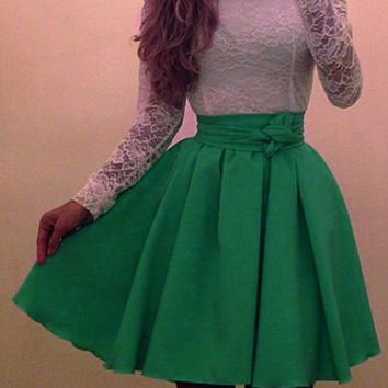 Green and White Long Sleeve Lace Dress