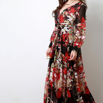 Chiffon Floral Print Surplice Maxi Dress