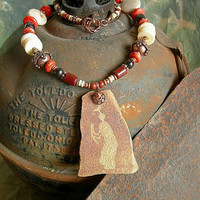 Petroglyph Necklace .Red, White, Black Coral .Fired Clay Focal .Elksong Jewelry