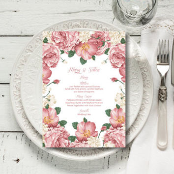Custom Wedding Menu, Romantic Floral Wedding Menu, vintage wedding menu template, digital PDF, you print, DIY
