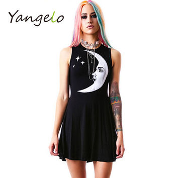 women dress Punk style moon star print dress harajuku black 2017 new summer fashion