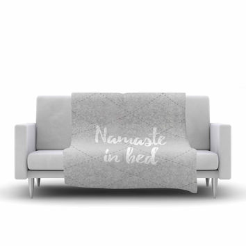 "KESS Original ""Namaste In Bed Grey"" White Gray Fleece Throw Blanket"