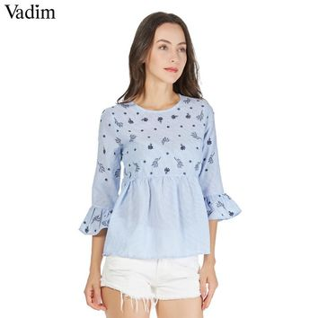 Sweet ruffled floral embroidery striped pleated shirts long bell sleeve cute O neck blouse ladies casual tops
