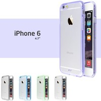 "iPhone 6 Case, Pack of 5 Ace Teah Case for iPhone 6 (4.7"") Features Clear Back Panel with Rubber Bumper / Durable Bump & Shock Protection Secure Grip - Black, White, Purple, Blue, Green"