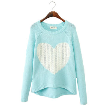Heart Pattern Pullover O neck Long Sleeve Knitwear Sweater