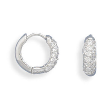 Rhodium Plated Small Pave Cubic Zirconia/polished Hinged Earrings