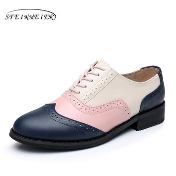 Women flats oxford shoes genuine leather vintage flat shoes round toe handmade blue pink beige 2017 oxfords shoes for women fur
