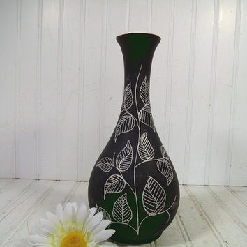 Vintage Matte Black Ceramic Studio Vase - Retro Mid Century Home Decor Accent Piece - Clay Ivory Interior Slate Paint Exterior Leaf Pottery