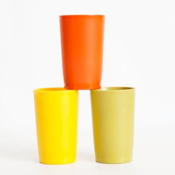 Vintage Harvest Tupperware Tumblers, 1970s Colors Short Tupper Ware Juice Cup Set, Yellow, Orange, Green 4 1/4 INCH