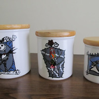 "Up-cycled Kitchen Canister Set- Hand painted. ""The Nightmare Before Christmas"" Theme"