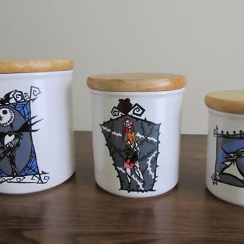 """Up-cycled Kitchen Canister Set- Hand painted. """"The Nightmare Before Christmas"""" Theme"""
