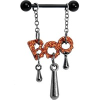 Black Dripping Boo Halloween Nipple Ring Set