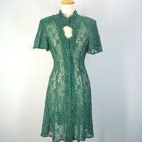 80s Lace Dress / Vintage Green Dress / 1980s Tea Dress