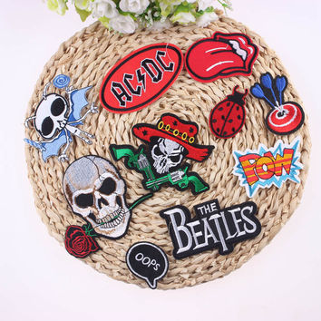 1Pcs Applique Punk Rock Cool Patch Badge For Clothes Stickers Iron On Cheap Embroidered Motorcycle Biker Patches For Clothing