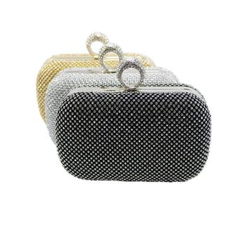 Womens Evening Bag Gold/Silver/Black Ring Knuckle Clutch Bag Evening Purse With Rhinestone Crystal Evening Bags