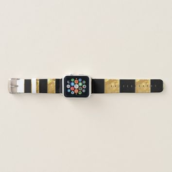 Black Gold Stripes Apple Watch Band
