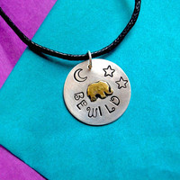 """925 Silver Elephant Necklace, """"BE WILD"""" travel charm necklace"""