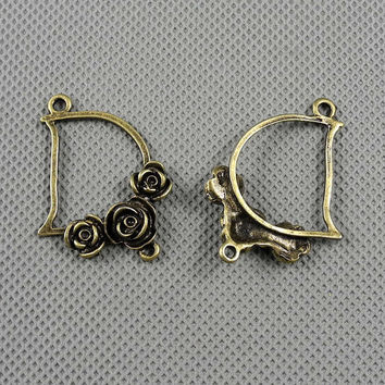 2x Making Jewellery Supply Retro Vintage Bronze Jewelry Findings Charms Schmuckteile Charme 4-A1628 Roses Connector