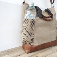 Waxed canvas bag zipper, large crossbody purse with external pockets, cotton/leather beige bag, canvas tote bag, hobo bag, small travel bag